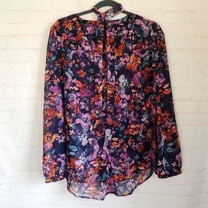 💐5/$25!💐Como black floral choker sash tie blouse